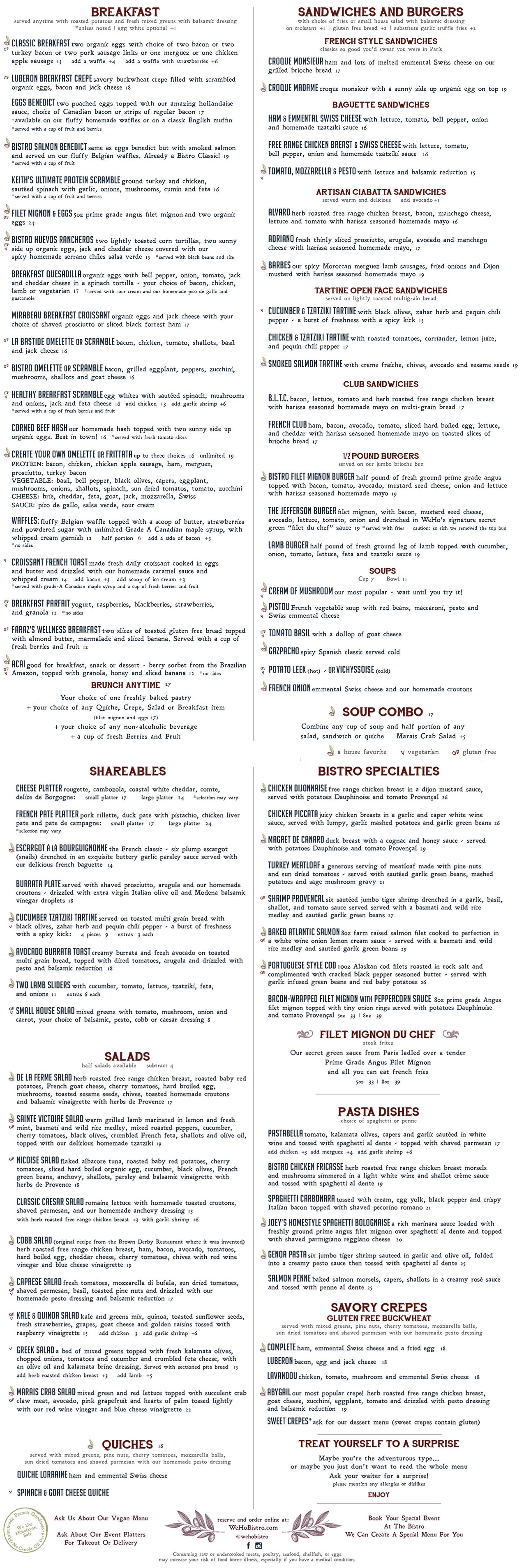 WeHo Bistro Main Menu for French Food